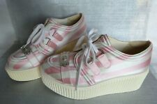 CHANEL SNEAKERS RARE SHOES CREEPERS Runway Resort Platform SIZE 40 PINK STRIPED