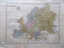 Mappa Antica Originale a Colori L'Europa del 1838