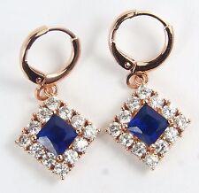 Women's 18 Carat Rose Gold Plated Blue Zircon Huggie Hoop Earrings Jewellery