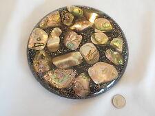 Mid-Century Trivet Hot Plate California Black/Metal Flakes Abalone Shells Resin