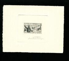 Somali Coast 1958 Airmail Gazelle Scott C21 SunkenDieArtist Proof/Essay in Black