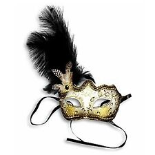 Black Feather Glitter Mask Venetian Style Masquerade Ball Party Face Eye Mask.