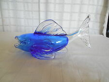 Lovely coblat blue art glass Koi fish figure, Murano?