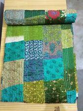 King Size Kantha Quilt Patola Silk Assorted Patchwork Vintage Handmade Bedspread