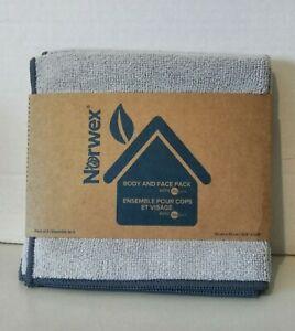 NORWEX 3 Pack Body & Face Cloths Light Grey w/Graphite Trim Microfiber BacLoc
