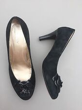 Gabor Size 7 Real Suede Black Flower Court Shoes Evening Party Pumps Heels Vgc
