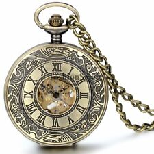 Vintage Roman Numerals Dial Skeleton Automatic Mechanical Pocket Watch Chain New