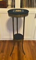 VTG Brass 2 Tier Plant Stand Table Shelf w Upholstered Needlepoint Accent -33.5""