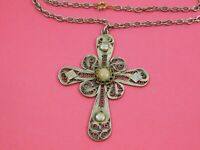 Vintage Cross Pendant Necklace Delicate Open Scroll Work Light Gold Tone Chain