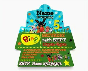 Personalised Blue Bing Birthday Party Invitations.Invite & Envelope in one PK 10