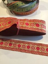 """Church religious trim galloon """"Circles""""  2"""" (5cm) wide RED/GOLD for Vestments"""