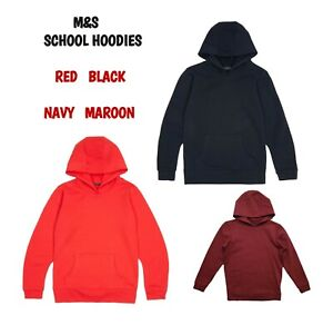 EX M+S Girls Boys School Hoodie Jumper Kids Sweater Uniform Red Navy Burgundy