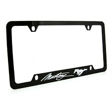 Ford Mustang Black Coated Metal License Plate Frame Holder