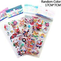 5 Sheets Santa Claus 3D Bubble Sticker Christmas Puffy Sticker Decoration Random