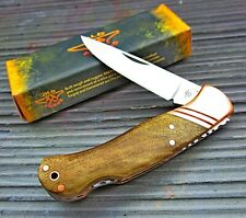 Old Forge Brown Wood Handles Copper Bolsters Lockback Traditional Folding Knife