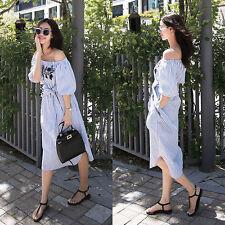 Korean Fashion  Womens Striped Off Shoulder Evening Party Tunic Summer Dress 2XL