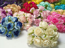 10 Artificial Flowers Rose Paper Flower Scrapbooking Card Crafts Wedding 30mm