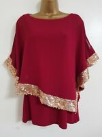 NEW Ex Wallis 10-14 Batwing Sequin Embellished Cold Shoulder Red Gold Top Blouse