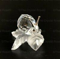 RARE Retired Swarovski Crystal Snail on a Vine Leaf 196501 Mint Boxed