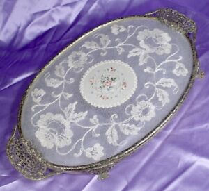 VINTAGE PETIT POINT NEEDLEWORK LACE TRAY PLATTER FILIGREE BRASS work
