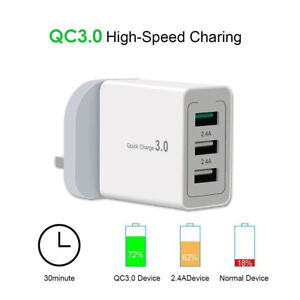 30W Fast Charging Quick Charger QC 3.0 3 USB Hub Wall Charger Adapter UK Plug