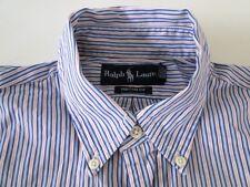 Ralph Lauren Custom Fit Herren Hemd Langarm Weiß/Pink Gestreift Gr. M / 15,5