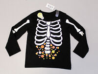The Children's Place Boy's L/S Glow In The Dark Halloween Shirt LP7 Black 3T NWT