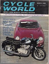 CYCLE WORLD MARCH 1968 (VG) MOTORCYCLE MAGAZINE, MV 600 FOUR SUZUKI 250 MX