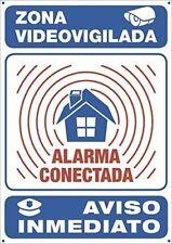 Cartel Alarma Conectada Sistema de Seguridad Metalico Interior Exterior 30x21cm.