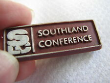SOUTHLAND CONFERENCE SLC Vintage PLASTIC LAPEL COLLAR PIN Sports NCAA FACULTY?