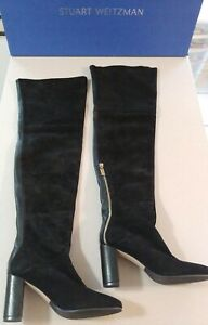 Stuart Weitzman Hardy 90 Black Suede/Leather Thigh High Boots NIB Size 10