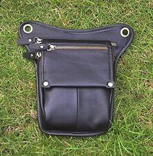 Le'aokuu Drop Leg Bag; Genuine Black Leather Men/Women Leg Thigh Hip Waist Bag