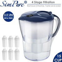 Water Pitcher Jug 3.5L with Filters BPA Free 15 Cup Drinking Filtration Simpure®