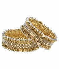 """Indian Traditional Bollywood Pearls Jewelry Gold Plated Bracelets Bangles 2.4"""""""