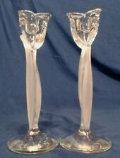 """Mikasa Crystal Spring Aria Tulip Candlesticks 8"""", Frosted Leaf, Gorgeous Mint"""