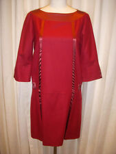 NWT Herion ultra chic Wool Dress~deep cherry red burgundy~Size 42 s small ~$1114