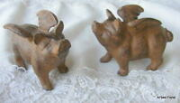Set/2 Cast Iron Flying Pigs w/ wings Garden Accent Pig Statue