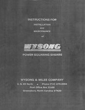 Wysong Shear Instruction & Maintenance Manual