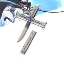 One Piece Hawk-Eye Dracule Mihawk Cosplay Kogatana Cross Sword Necklace Fan Gift