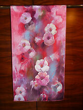 Crepe de chine long silk scarf Print of Lijiin's red/pink flowers with blue  NEW
