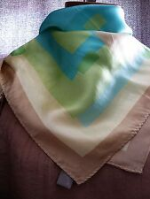 VINTAGE ECHO 100% silk scarf neck tie small square hand stitched edging 21x 21