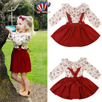 2PCS Toddler Kids Baby Girls Floral Clothes Ruffle Tops Tutu Skirt Dress Outfits