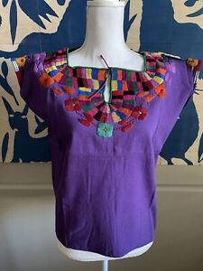 Maya Mexican Blouse Top Embroidered Collar Floral Chiapas Purple Huipil M