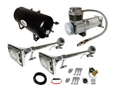 LOUD 162dB 2 TRUMPET SEMI TRUCK AIR HORN KIT WITH 5 GAL TANK/200 PSI COMPRESSOR