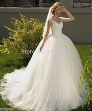New White/Ivory Lace Wedding Dress Bridal Gown Custom Size 4 6 8 10 12 14 16 18+