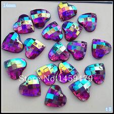 30 pcs x Sew On 14 mm Acrylic Rhinestones Purple AB Color Heart Shape