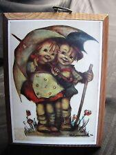 Vintage Hummel Print Mounted on Wood - Boy and Girl Under Umbrella