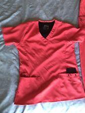 Easy Fit Medical Nurse Scrub Outfit Size Xs Neon Orange 2 Piece Women or Men