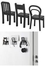 IKEA FJANTIG SET OF 3 HOOKS HANGERS BLACK CHAIRS HOME ORGANIZATION 12x6cm