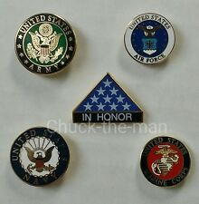 Lapel Pin Military US-Army-US-Marine-US-Navy-US-Airforce-IN-HONOR-Emblem
